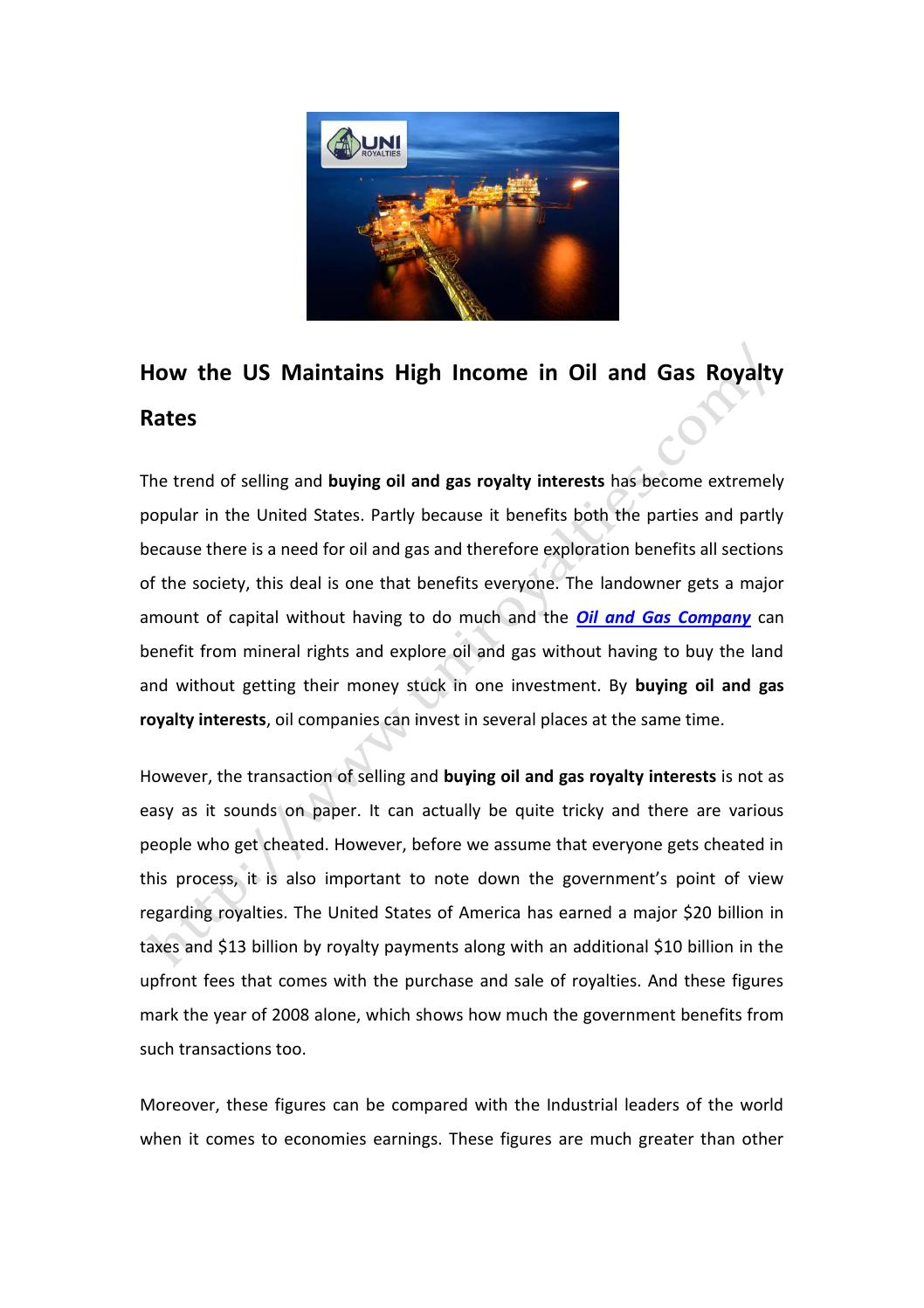 How the US Maintains High Income in Oil and Gas Royalty