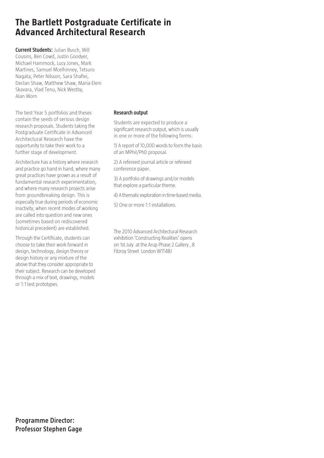 Bartlett School of Architecture Catalogue 2010 by The