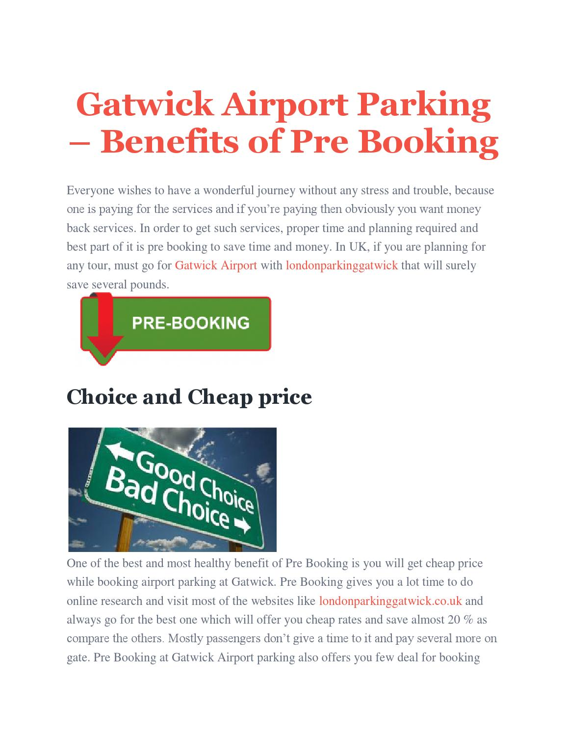 Benefits Of Pre Booking By London Parking Gatwick Issuu