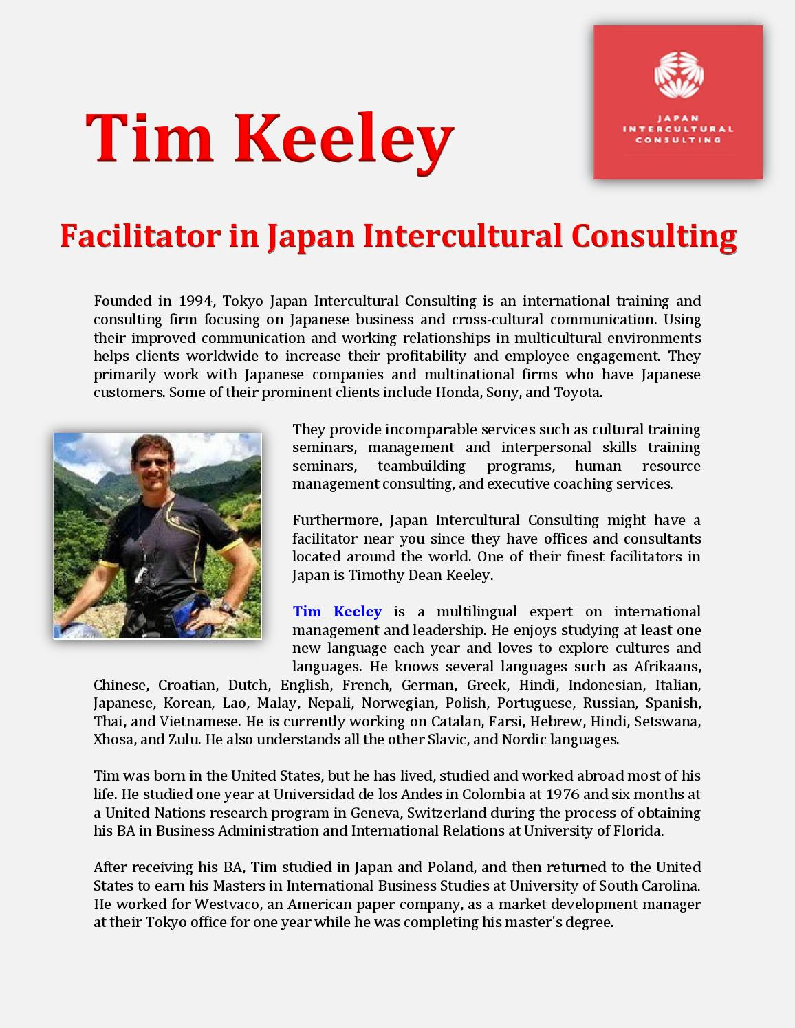 Tim Keeley: Facilitator in Japan Intercultural Consulting by Chavela Hygins  Issuu