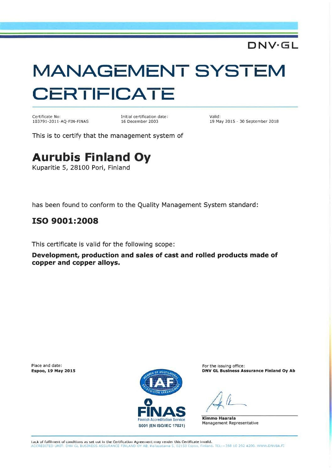 aurubis dnv management system certificate iso 9001 2008. Black Bedroom Furniture Sets. Home Design Ideas