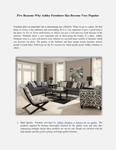 Five Reasons Why Ashley Furniture Has