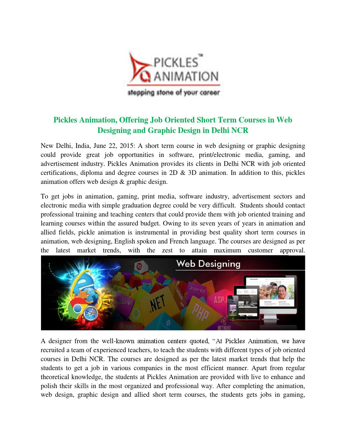 Pickles animation, offering job oriented short term ...