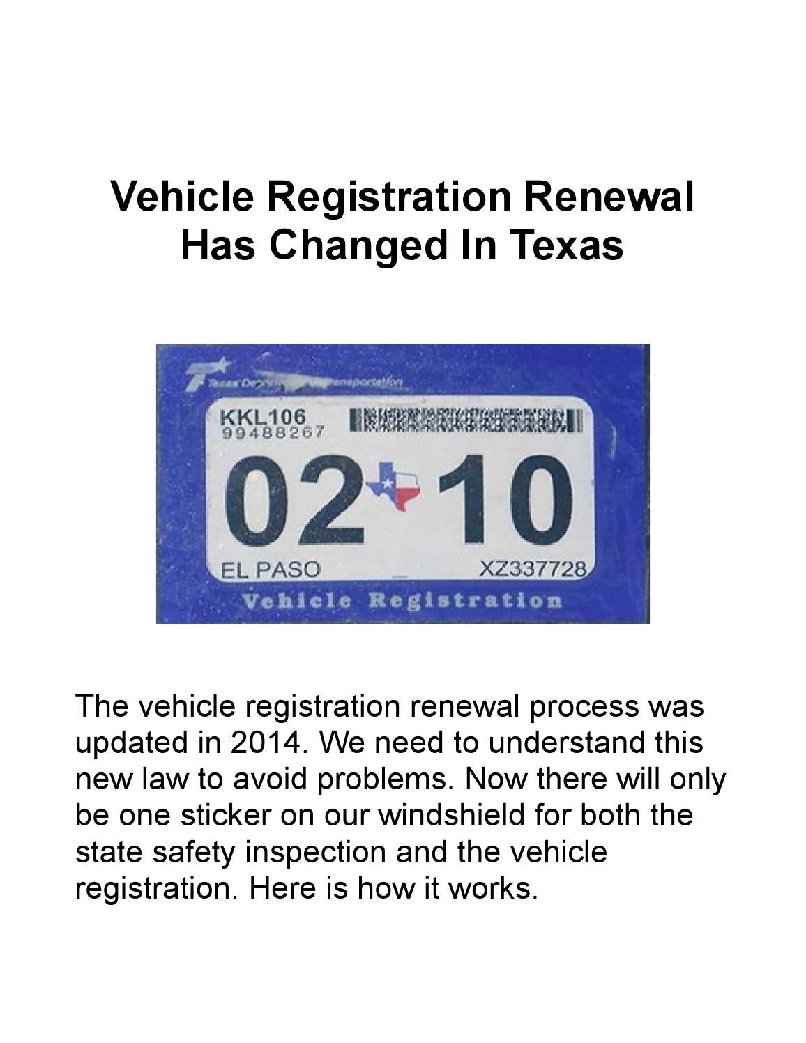 Vehicle registration renewal has changed in texas by defensive driving amarillo issuu