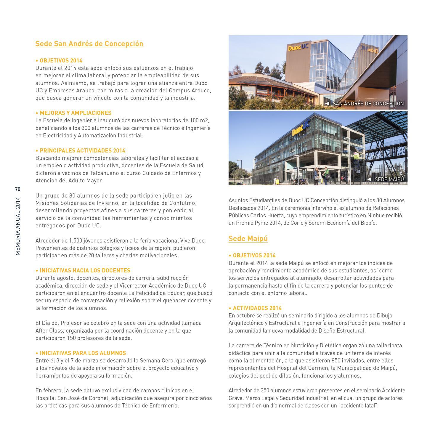Memoria Anual 2014 - Duoc UC by Duoc UC - issuu