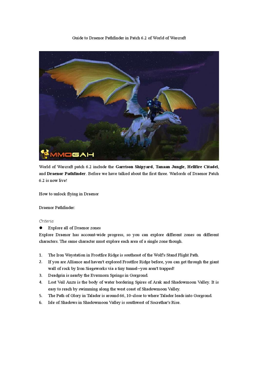 Guide To Draenor Pathfinder In Patch 6 2 Of World Of Warcraft By