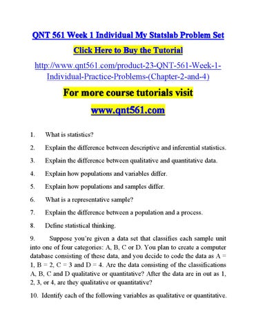 Qnt 561 Week 1 Individual My Material Qnt561dotcom By