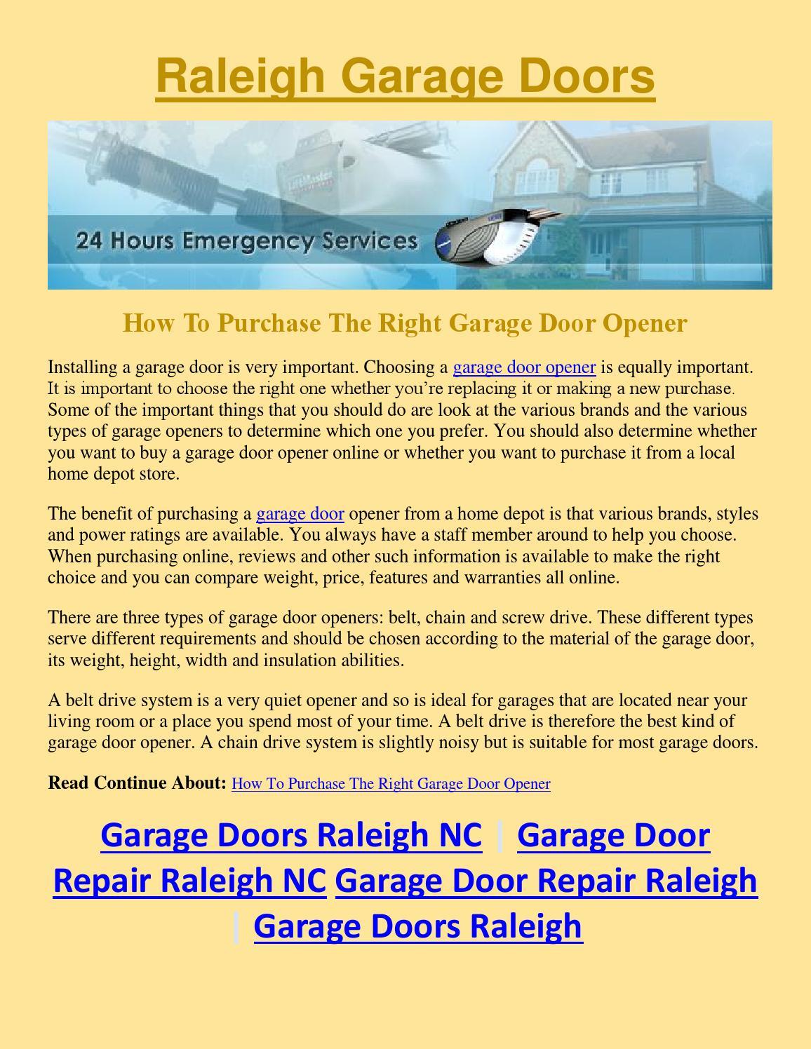 Garage Door Repair Raleigh Nc How To Purchase The Right Garage Door