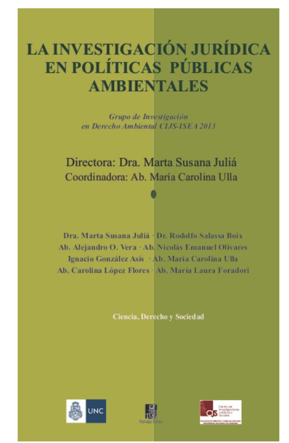 E book la investigación jurídica en políticas públicas ambientales ...