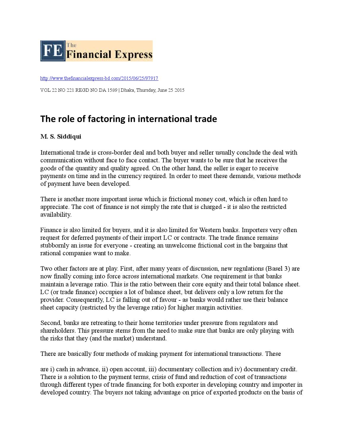 The role of factoring in international trade by Mohammad Shahjahan