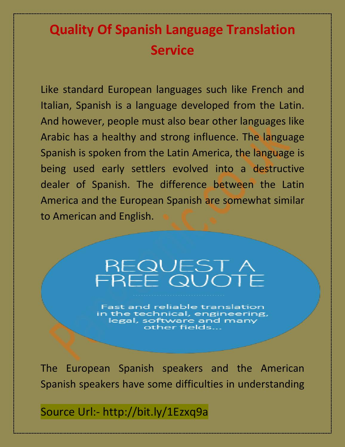 Quality Of Spanish Language Translation Service by Raychel Rian - issuu