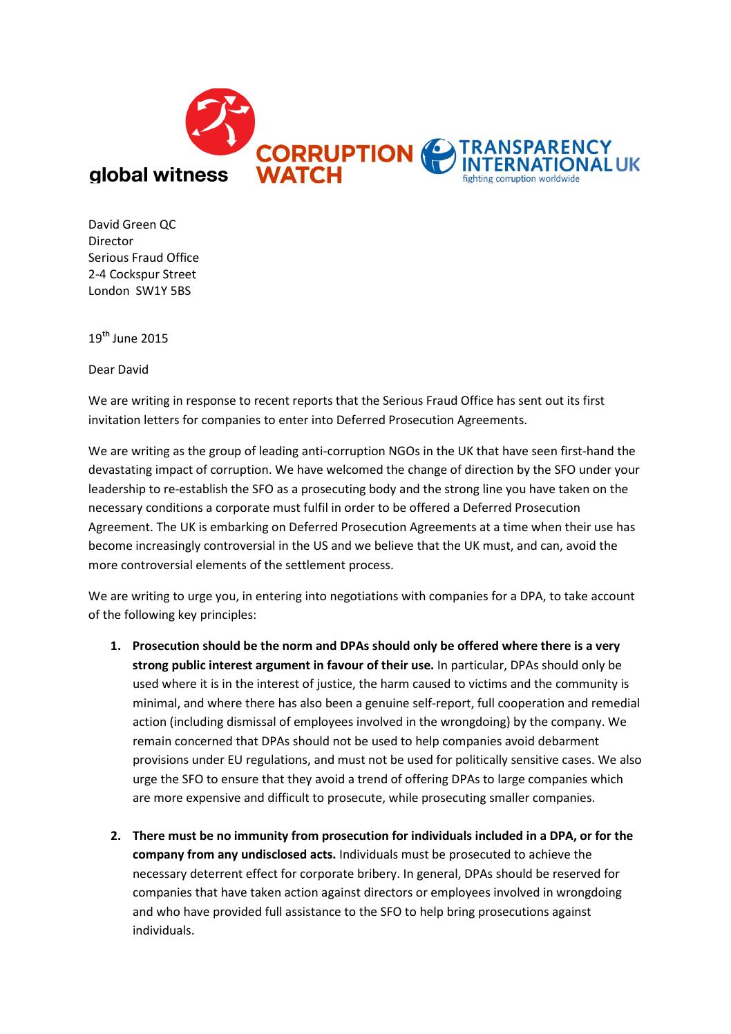 Letter To David Green Qc 19 June 2015 By Transparency International