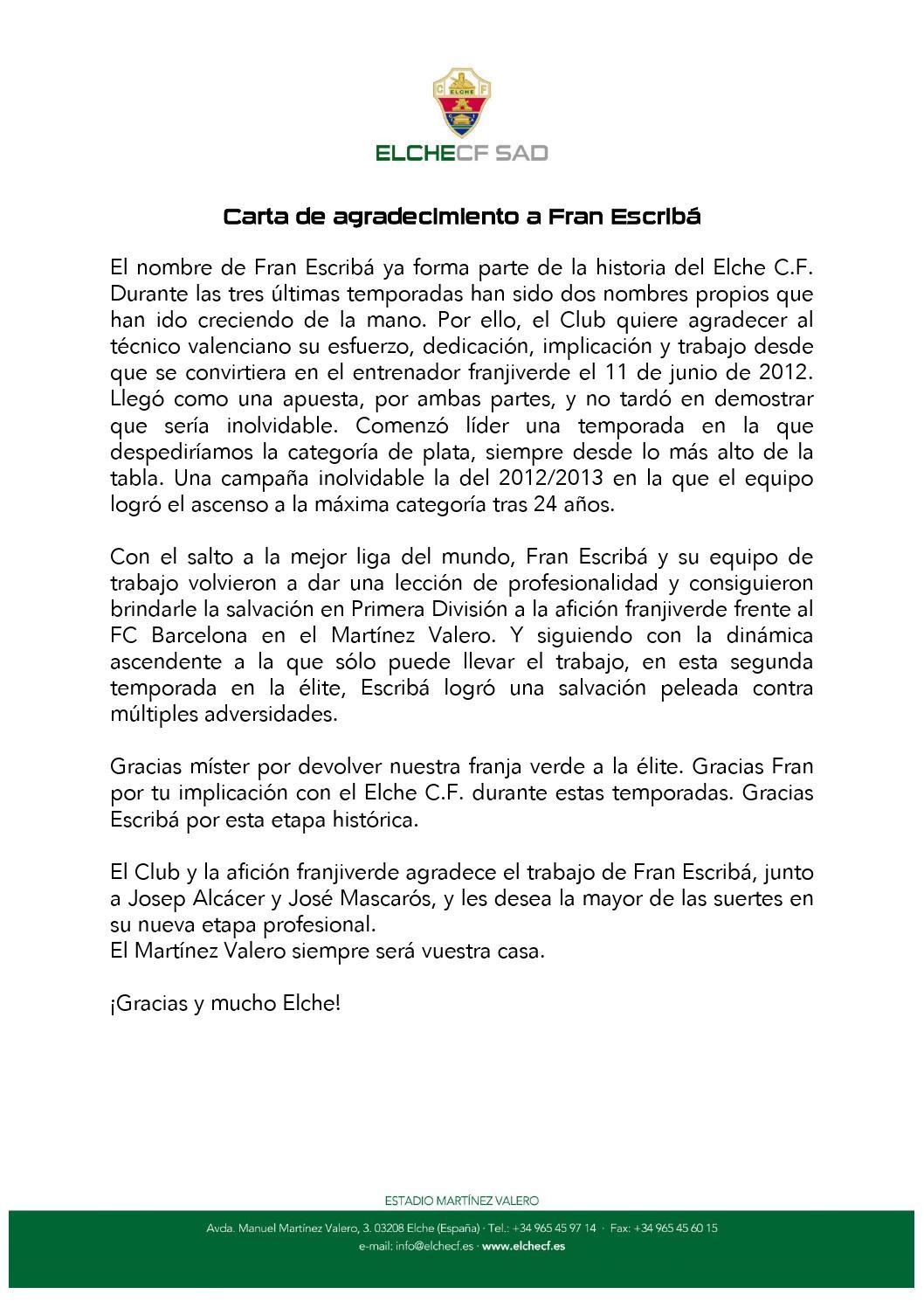 Carta despedida fran escriba by elche departamento for Oficina de empleo elche