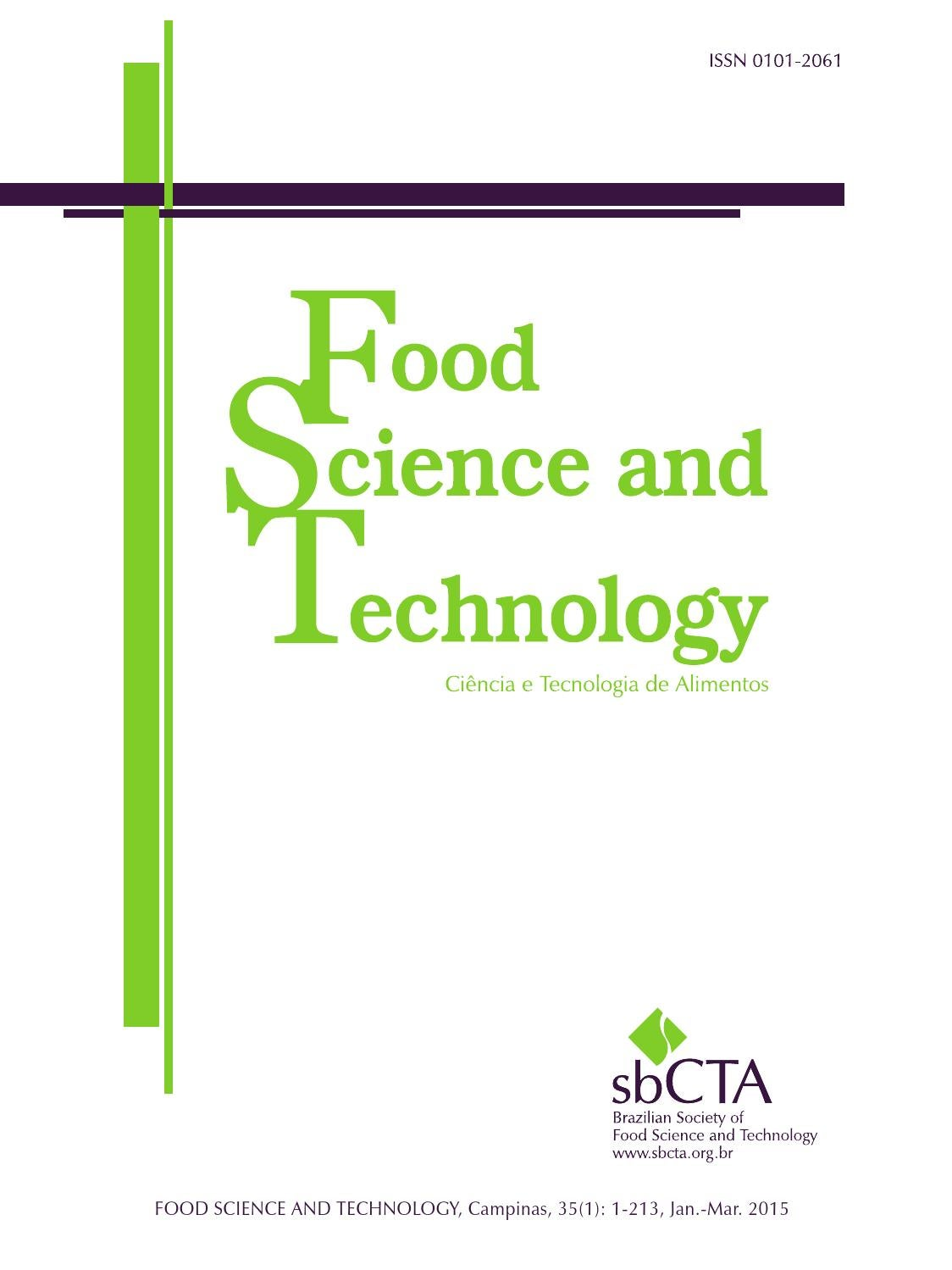 Food Science and Tecnology, volume 35, number 1, 2015 by Editora ...