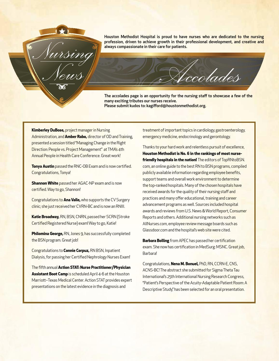 Houston Methodist Nurse March 2014 By Houston Methodist Professional