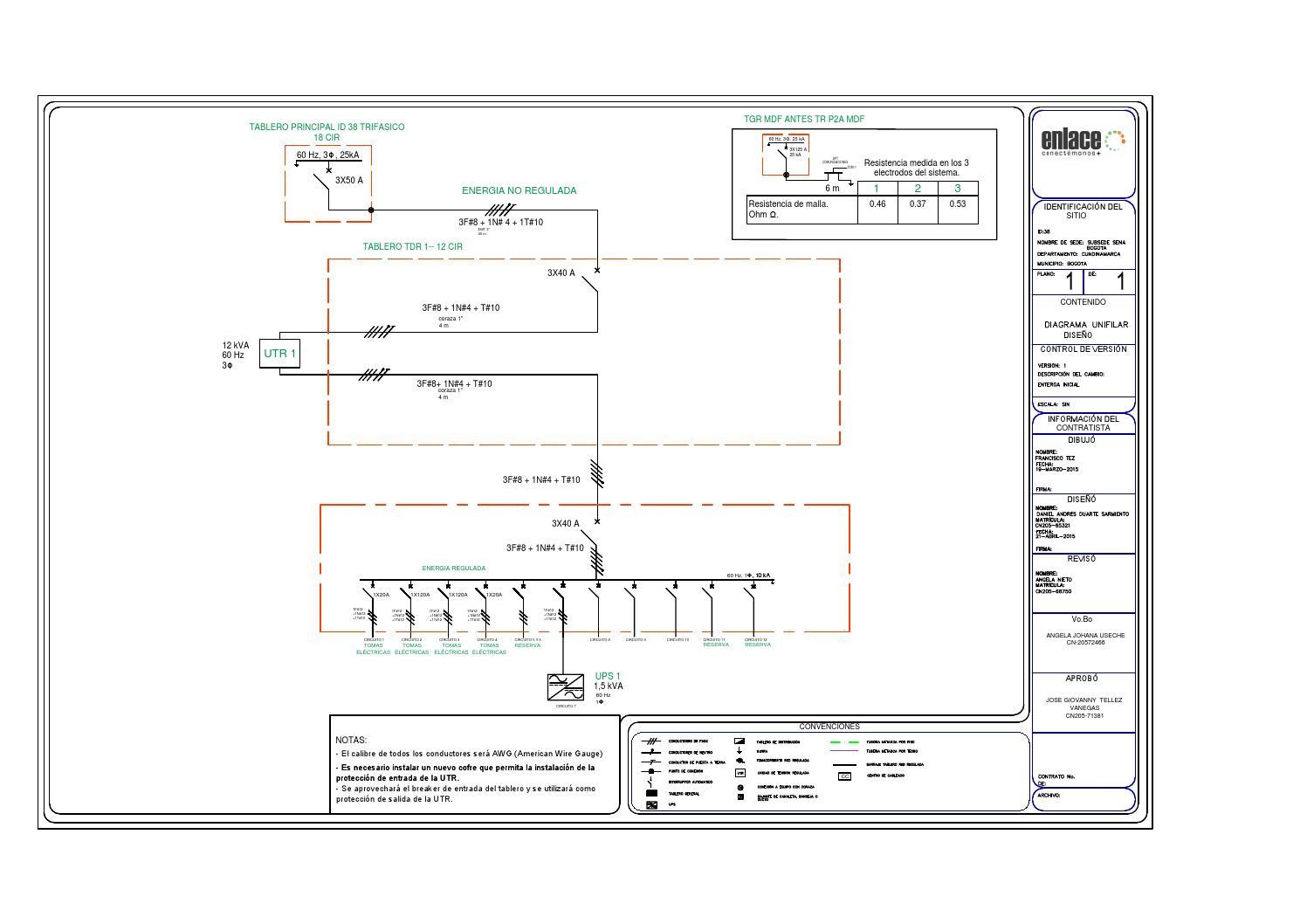 Circuito Unifilar : Diagrama unifilar id v by a lo libre issuu