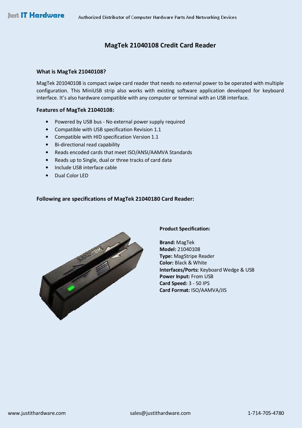 MagTek 21040108 Credit Card Reader by Just IT Hardware - issuu