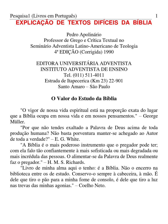 02246957ca39f Explicao de textos difceis pedro apolinrio by TV Novo Tempo - issuu