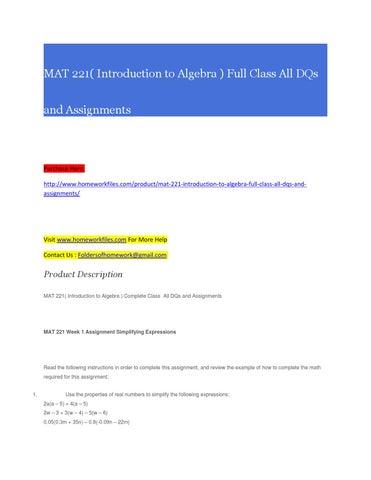 mat 221 week 1 assignment simplifying expressions Flash cards for math 302a - understanding elementary mathematics (a) at arizona (ua.