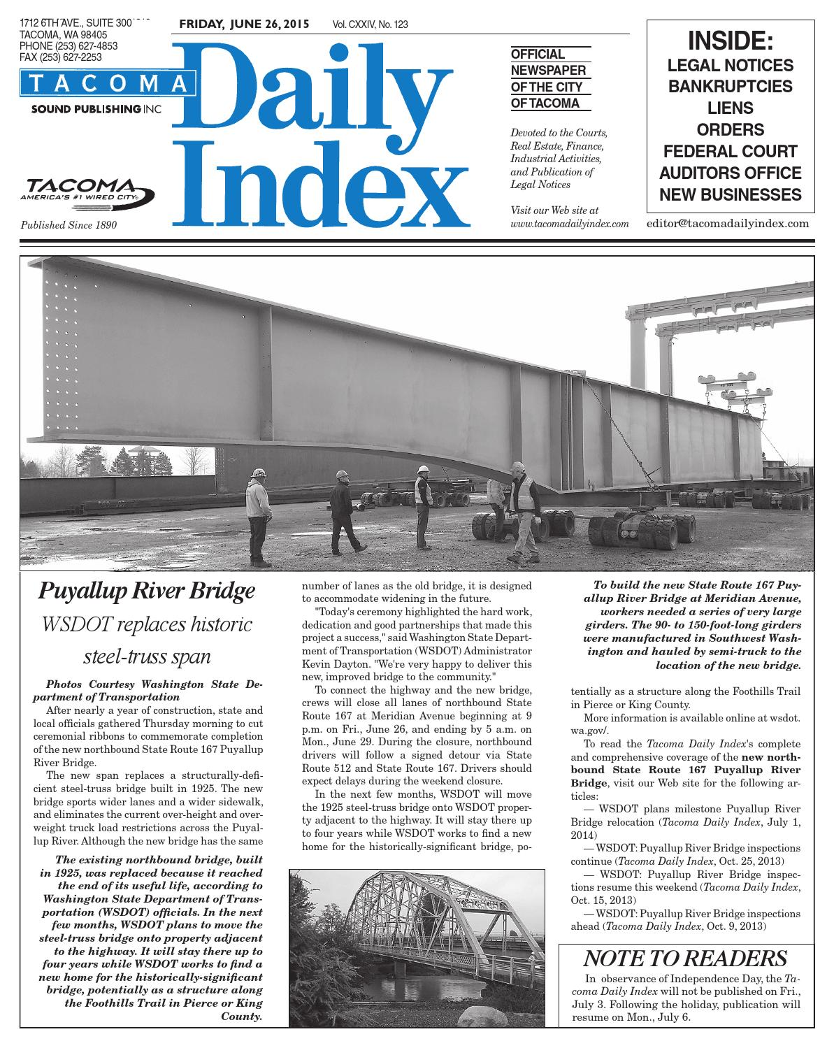 Tacoma Daily Index June 26 2015 By Sound Publishing Issuu