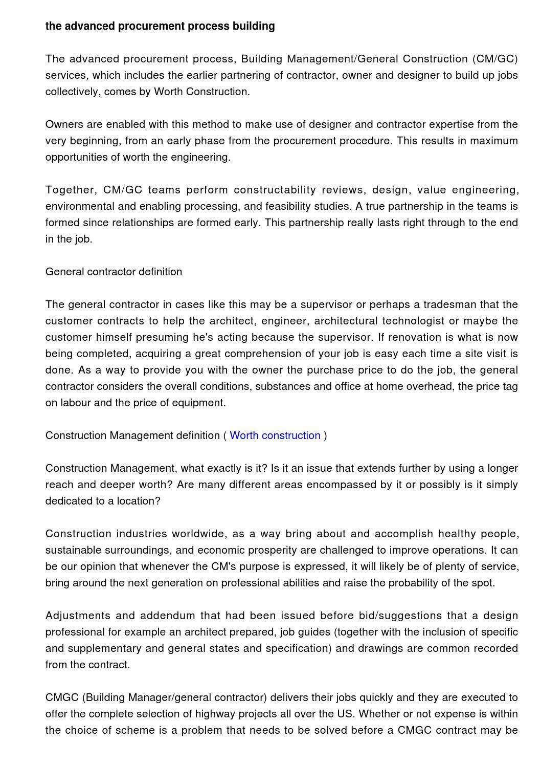 the advanced procurement process, building management/general
