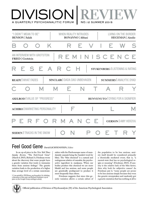 Division Review Issue 12 Summer 2015 By David Lichtenstein