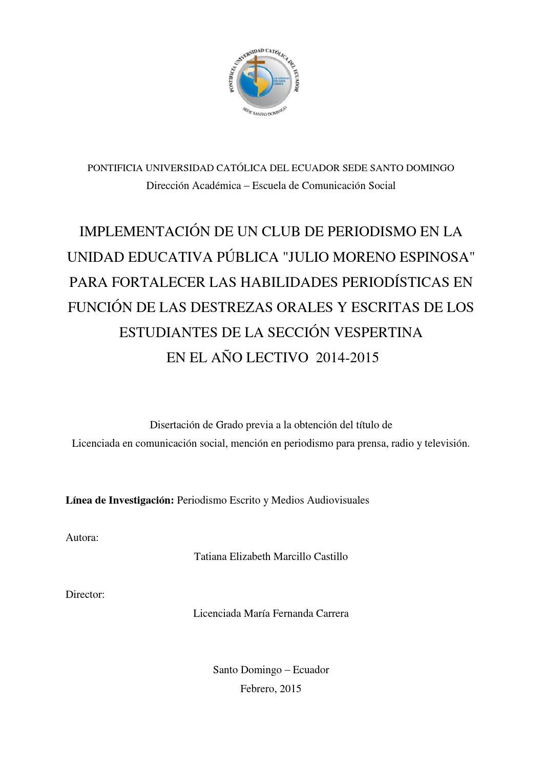 Implementación de un club de periodismo by Pontificia Universidad ...