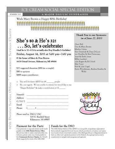 Mary brown 2015 birthday party flyer - August 14 by Edie