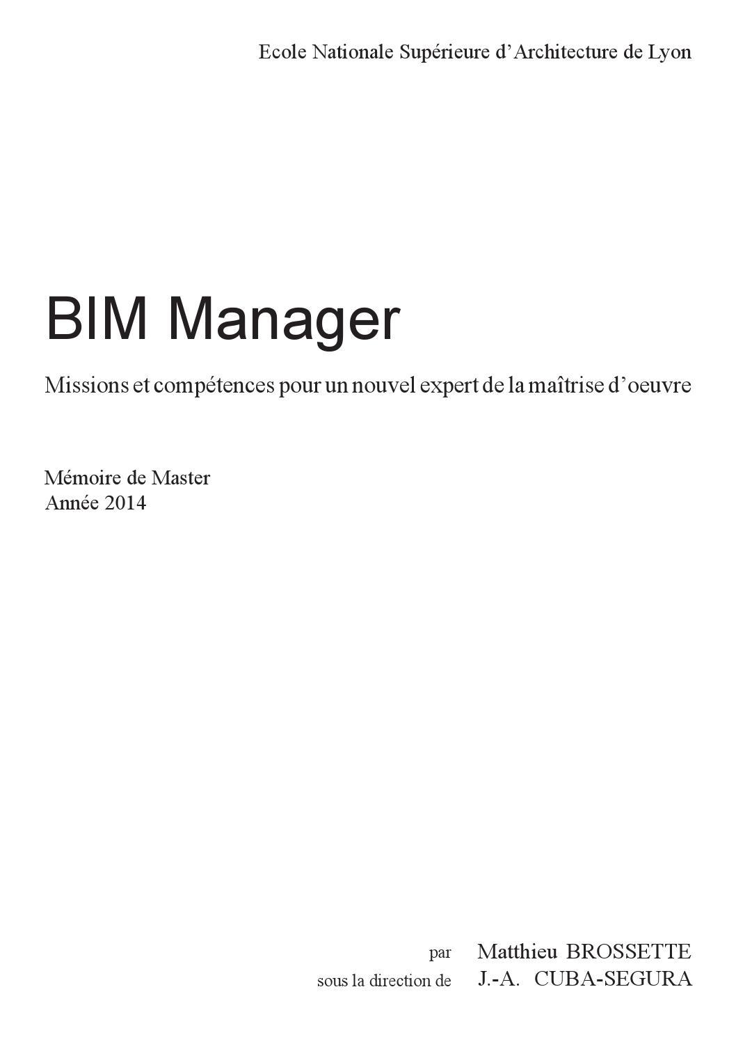 BIM Management - Mémoire by Matthieu Brossette - issuu