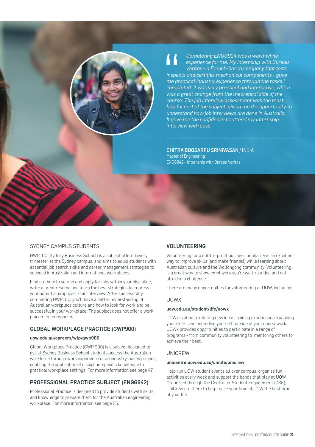 UOW International Postgraduate Guide 2016 by University of