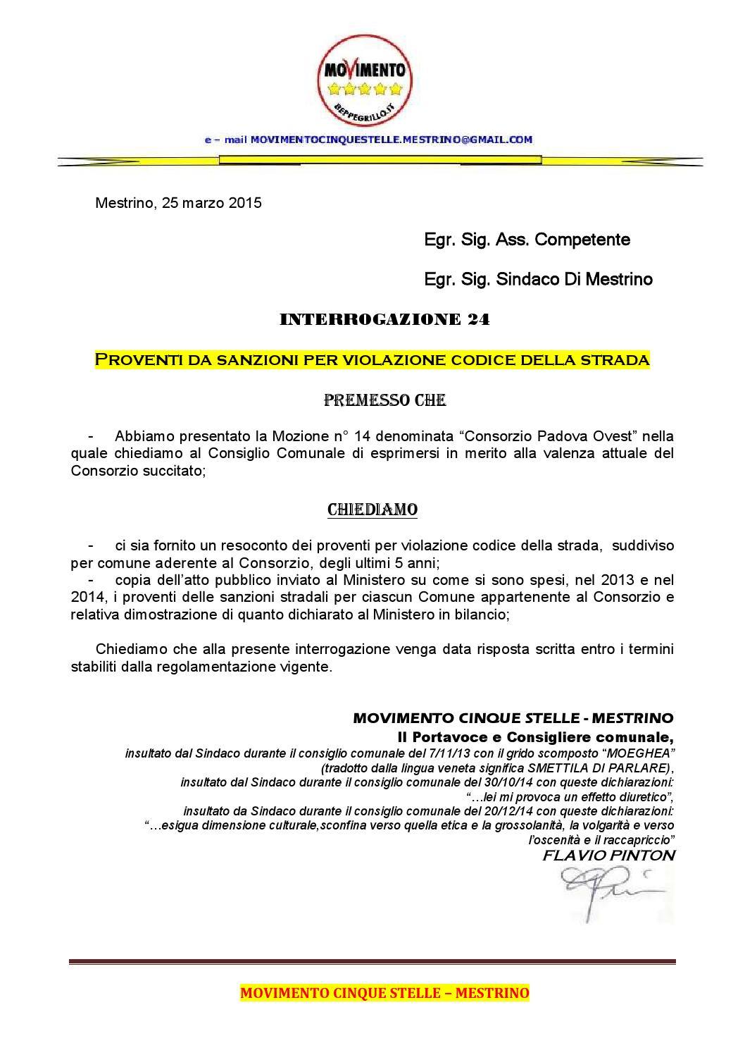 Interrogazione 24 proventi da sanzioni per violazione del for Codice della strada biciclette da corsa