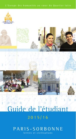 Guide De Ltudiant 2015 2016 By Universit Paris Sorbonne