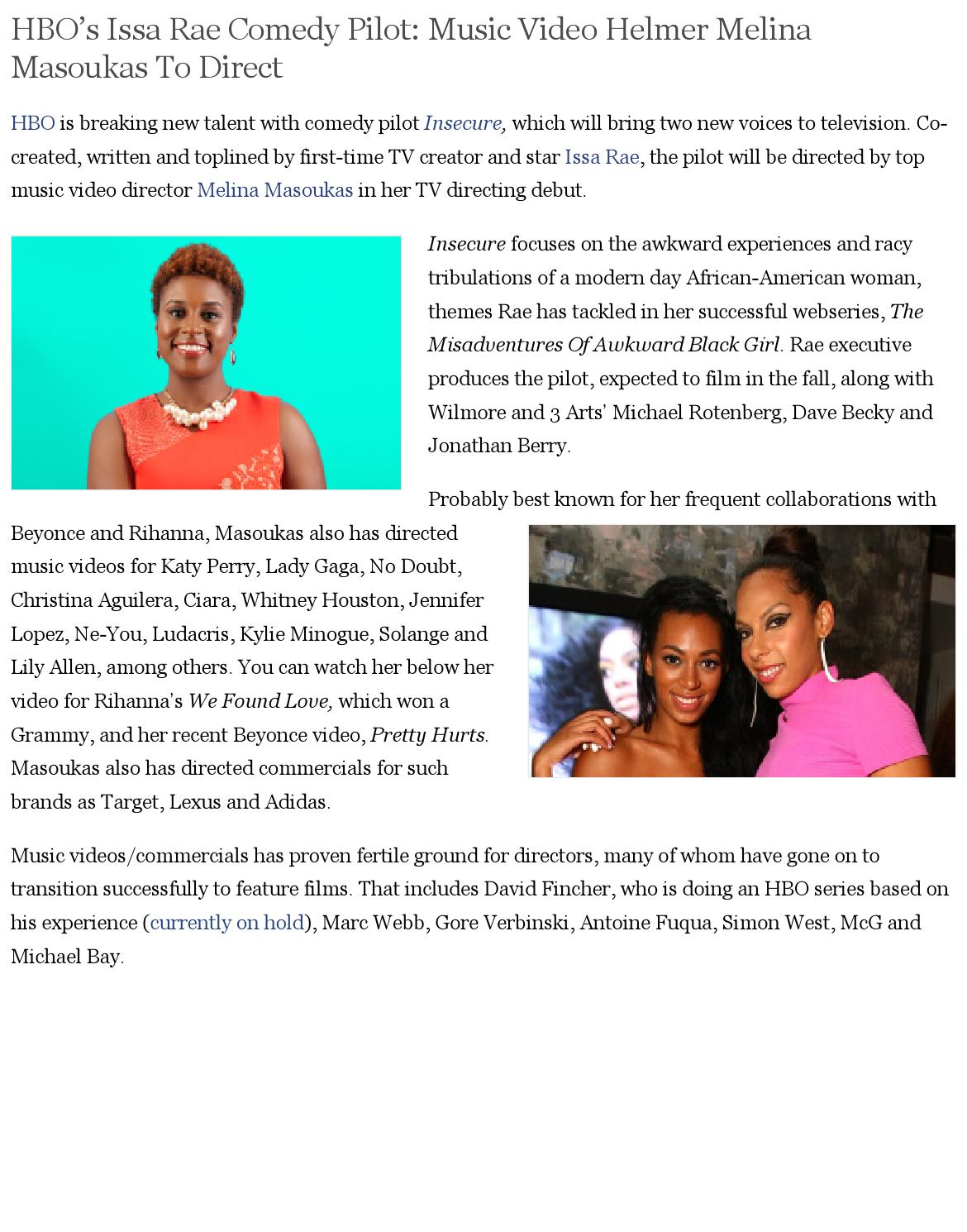 Hbo's issa rae comedy pilot music video helmer melina