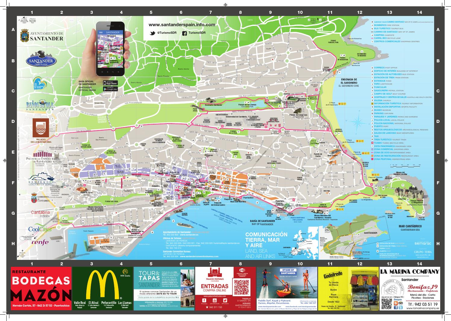 Plano turistico de santander by cantabria turismo issuu for Mapa santander sucursales