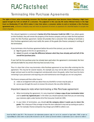 2011 08 11 Factsheet Termination Of Hire Purchase Agreements Final