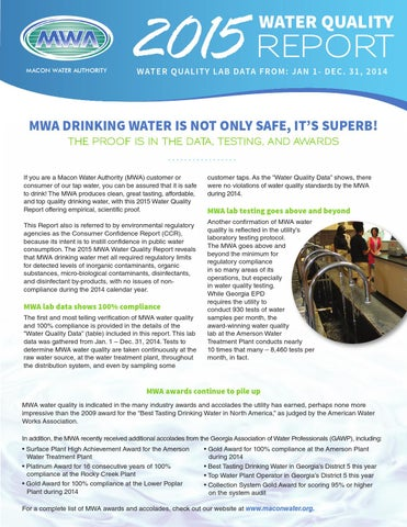 Macon Water Authority Water Quality Report 2015 By Mr Marketing