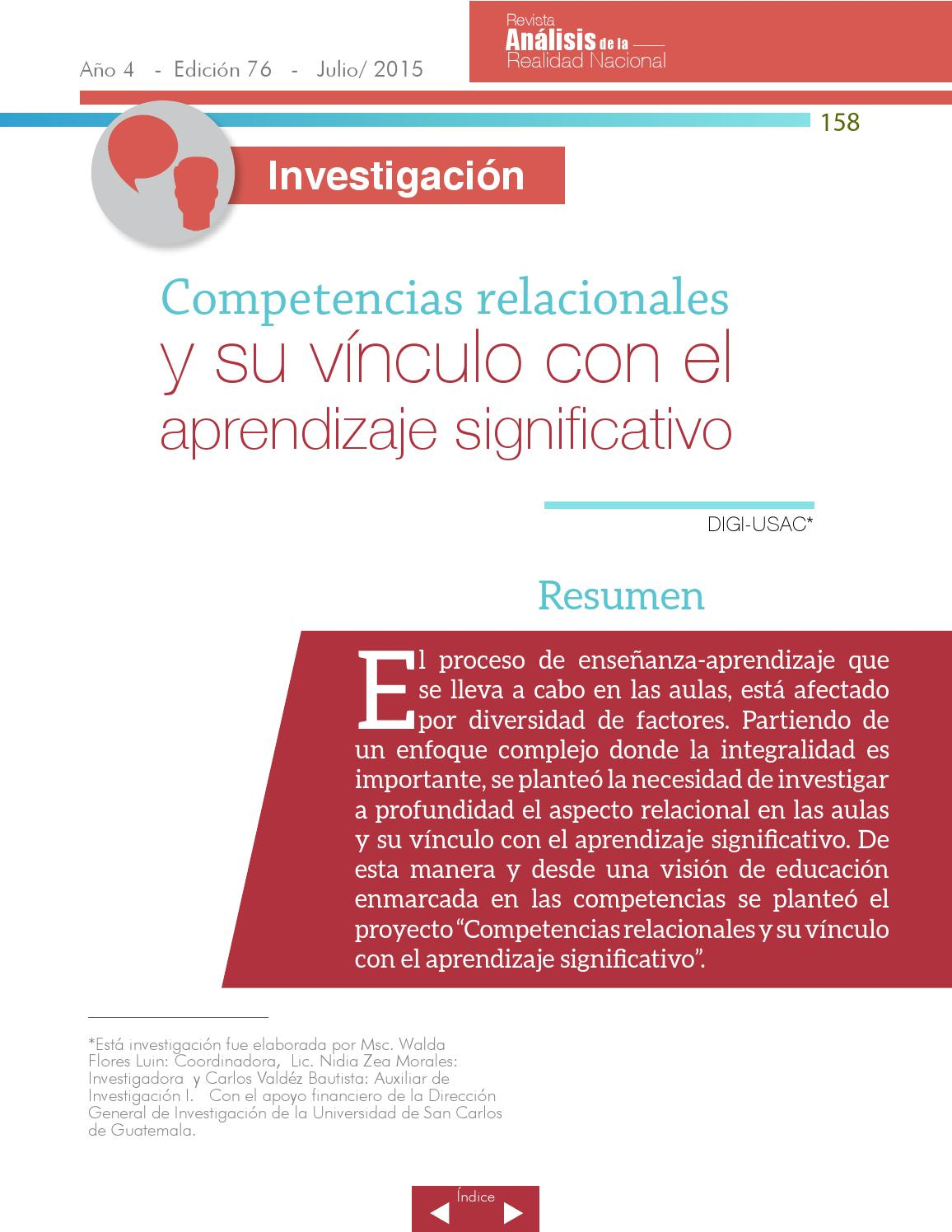 Edición No 76, Revista Análisis de la Realidad Nacional by ...