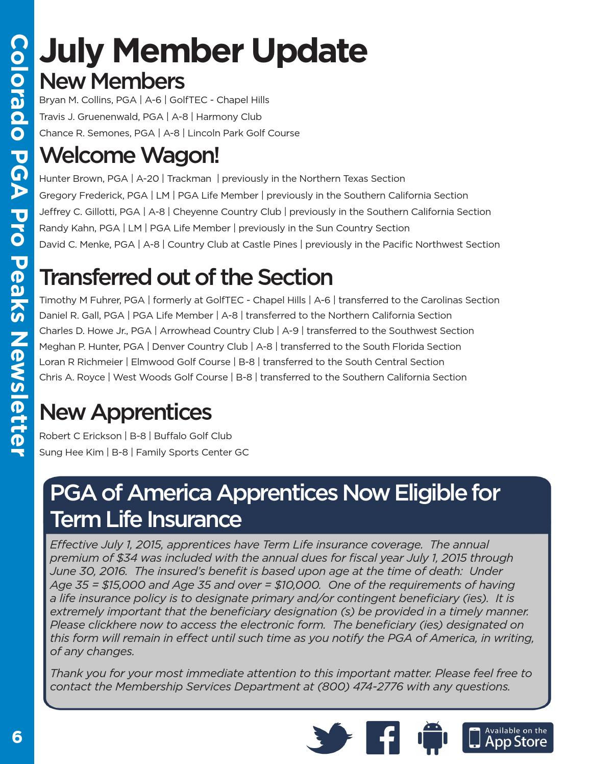 Colorado PGA July 2015 Pro Peaks Newsletter by Colorado ...