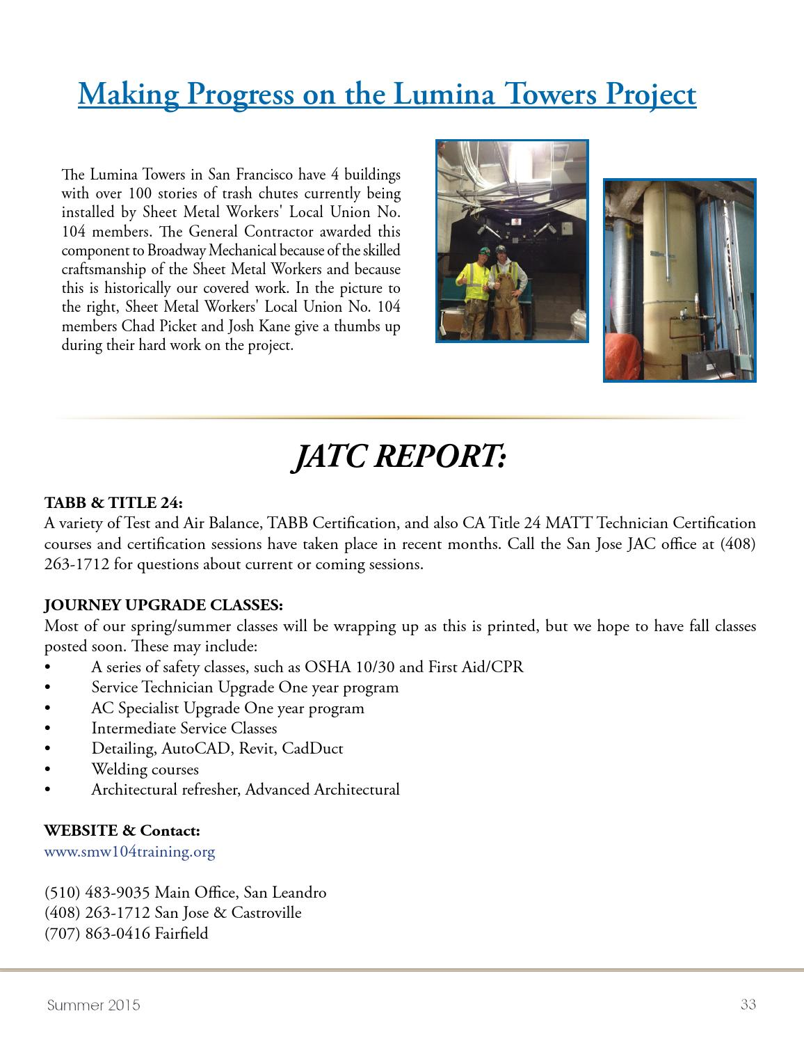 Sheet Metal Workers Local Union No 104 Summer 2015 Newsletter By