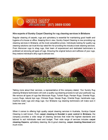 Hire Experts Of Sundry Carpet Cleaning
