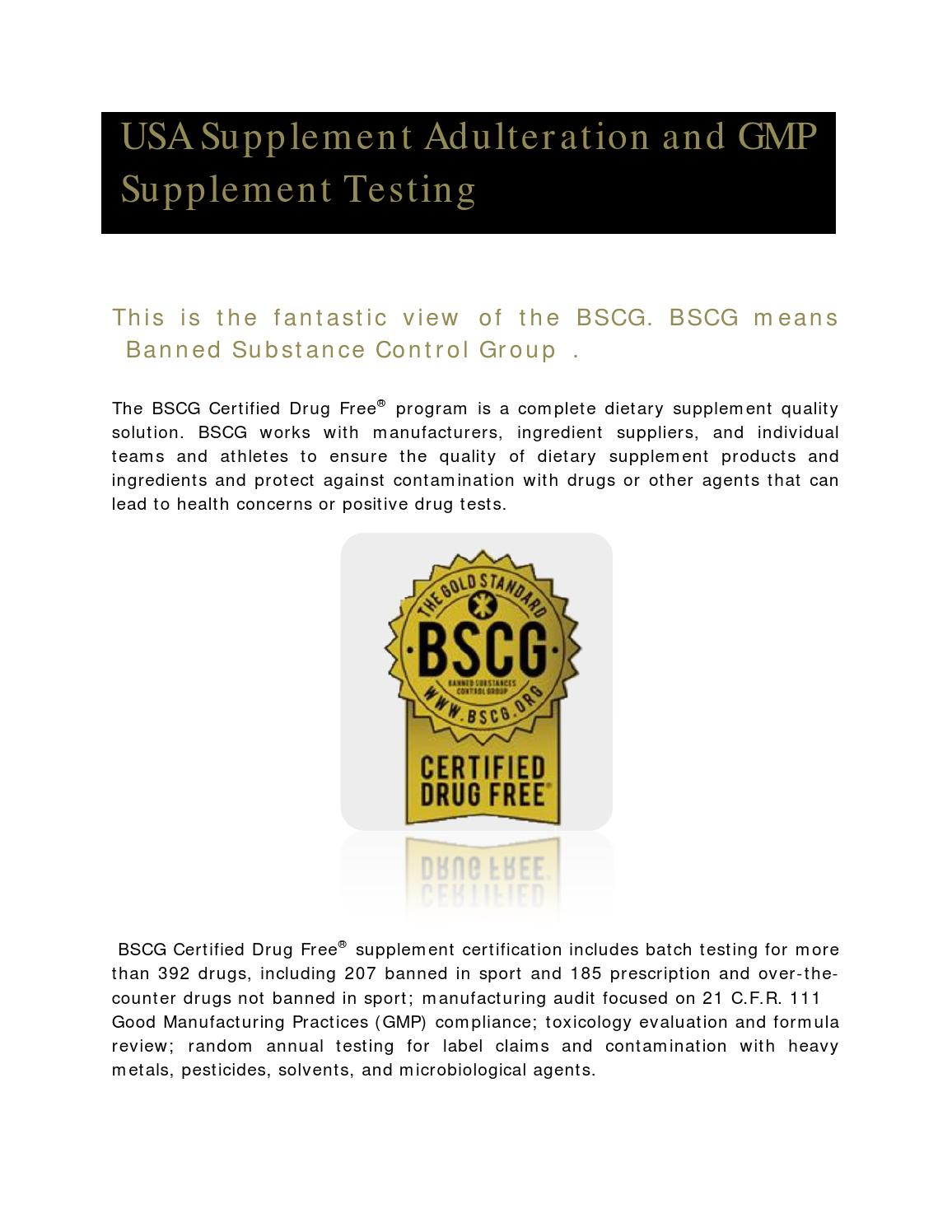 Supplement Adulteration And Gmp Supplement Testing By Bscgcertified