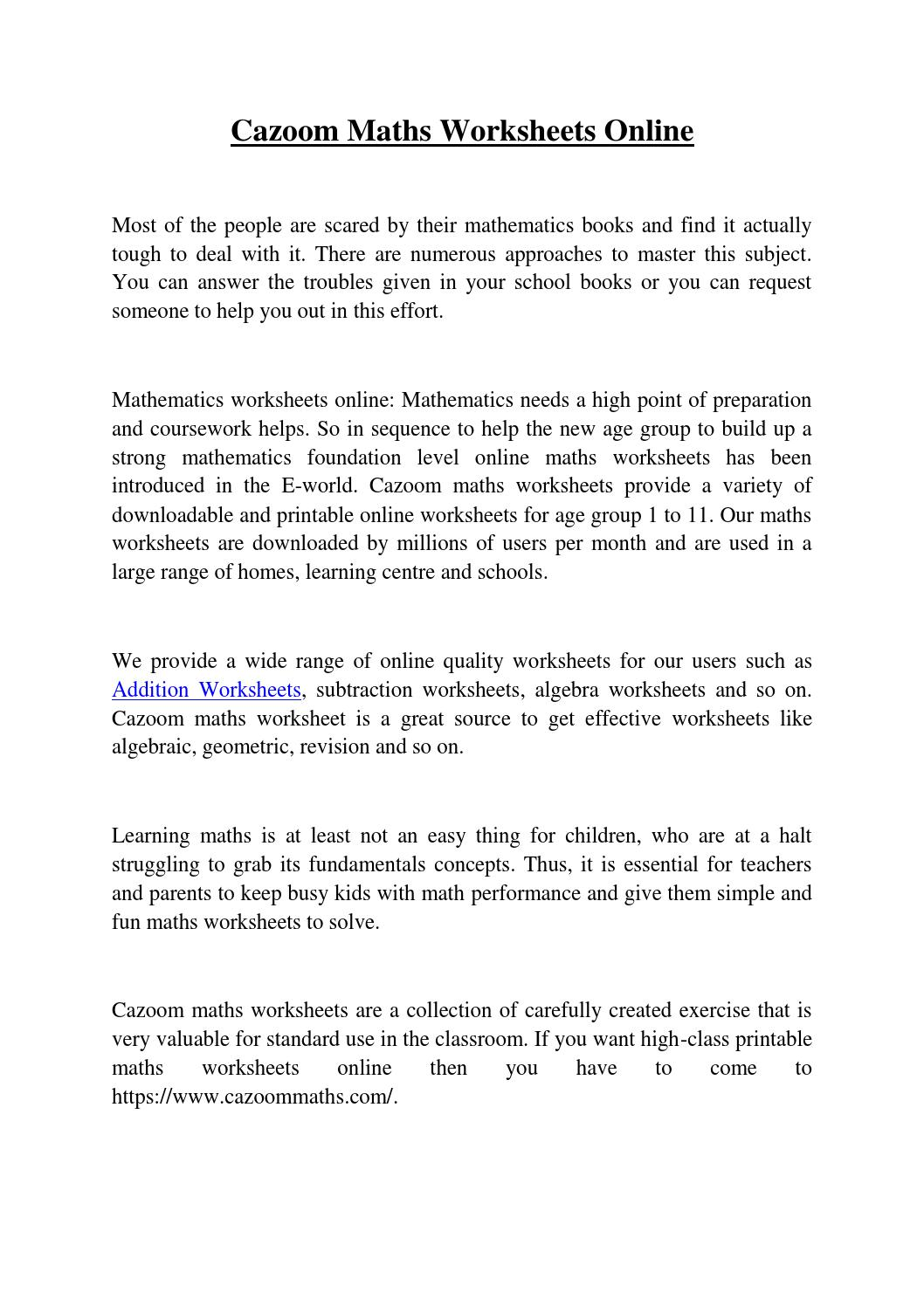 Cazoom-Math Worksheets by markdisuja00 - issuu