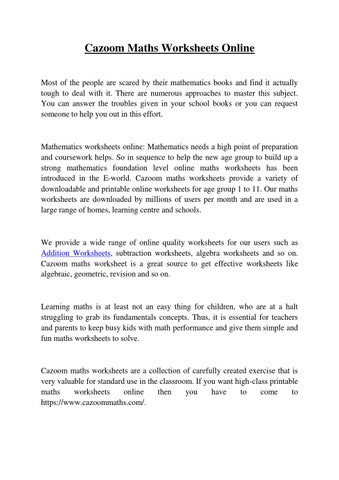 cazoommath worksheets by markdisuja  issuu cazoom maths worksheets online most of the people are scared by their  mathematics books and find it actually tough to deal with it