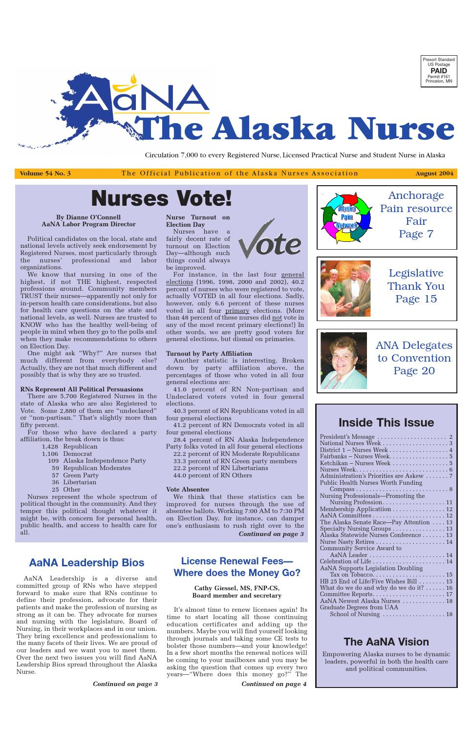 The Alaska Nurse - Vol. 54 No. 3 - August 2004 by Alaska Nurses ...