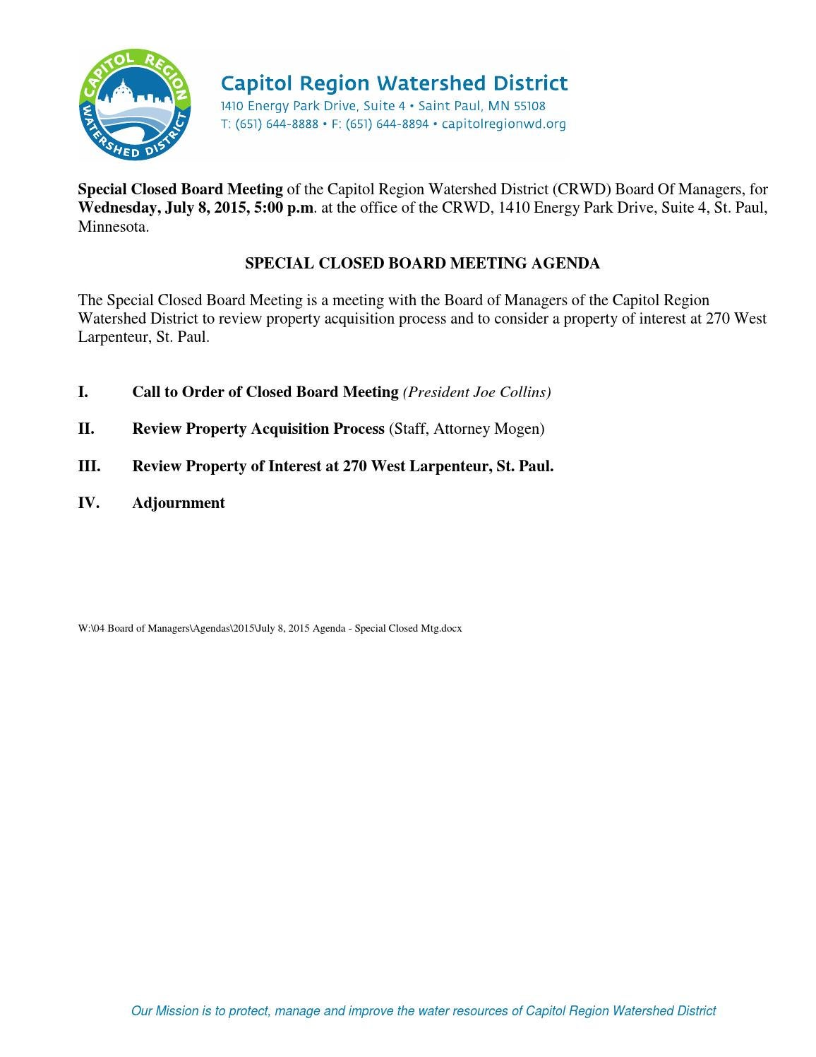 Board Of Managers Meeting Packet July 8 2015 By Capitol Region Watershed District Issuu