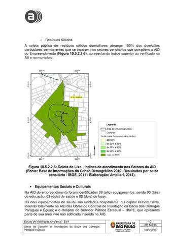 c5d45ae0a9c18 o Resíduos Sólidos A coleta pública de resíduos sólidos domiciliares  abrange 100% dos domicílios particulares permanentes que se inserem nos  setores ...