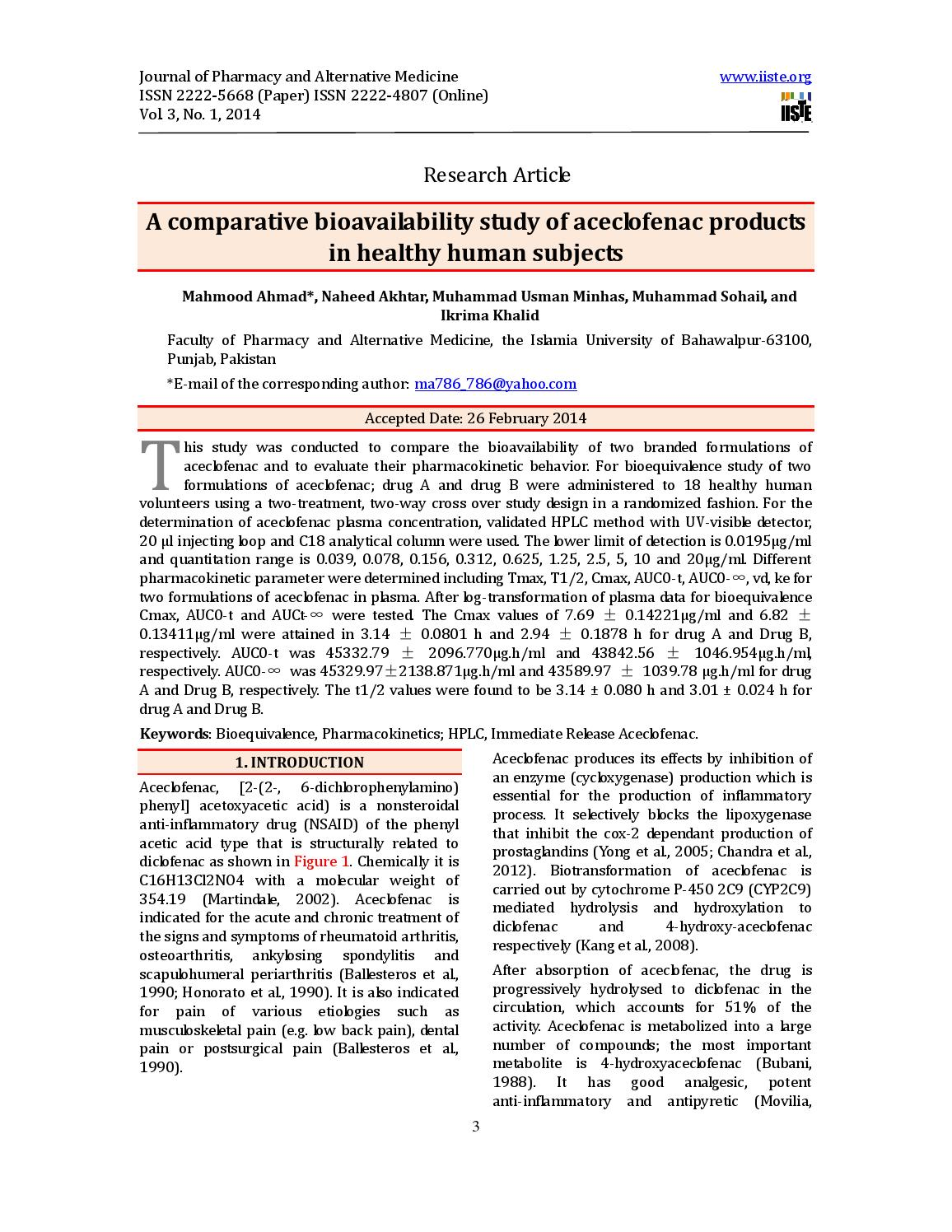 A comparative bioavailability study of aceclofenac ... - Issuu