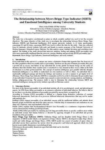 correlational study of the myers briggs type Eyscnck personality questionnaire and jungian myers-briggs type indicator correlation of extraversion-introvcrsion tion of the myers-briggs type indicator (mbtt.