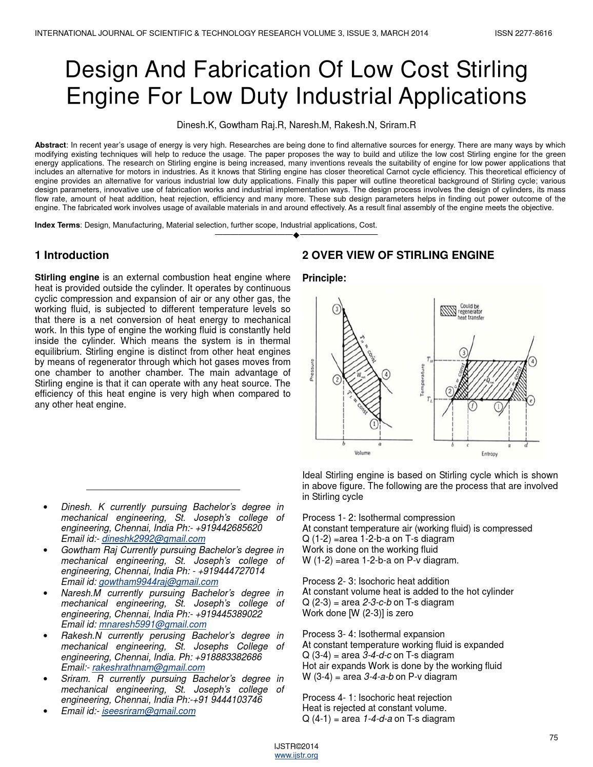 stirling engine research paper Design of a 25kw low temperature stirling engine  of the engine for experimentation stirling engines  stirling engine to be described in the paper are.