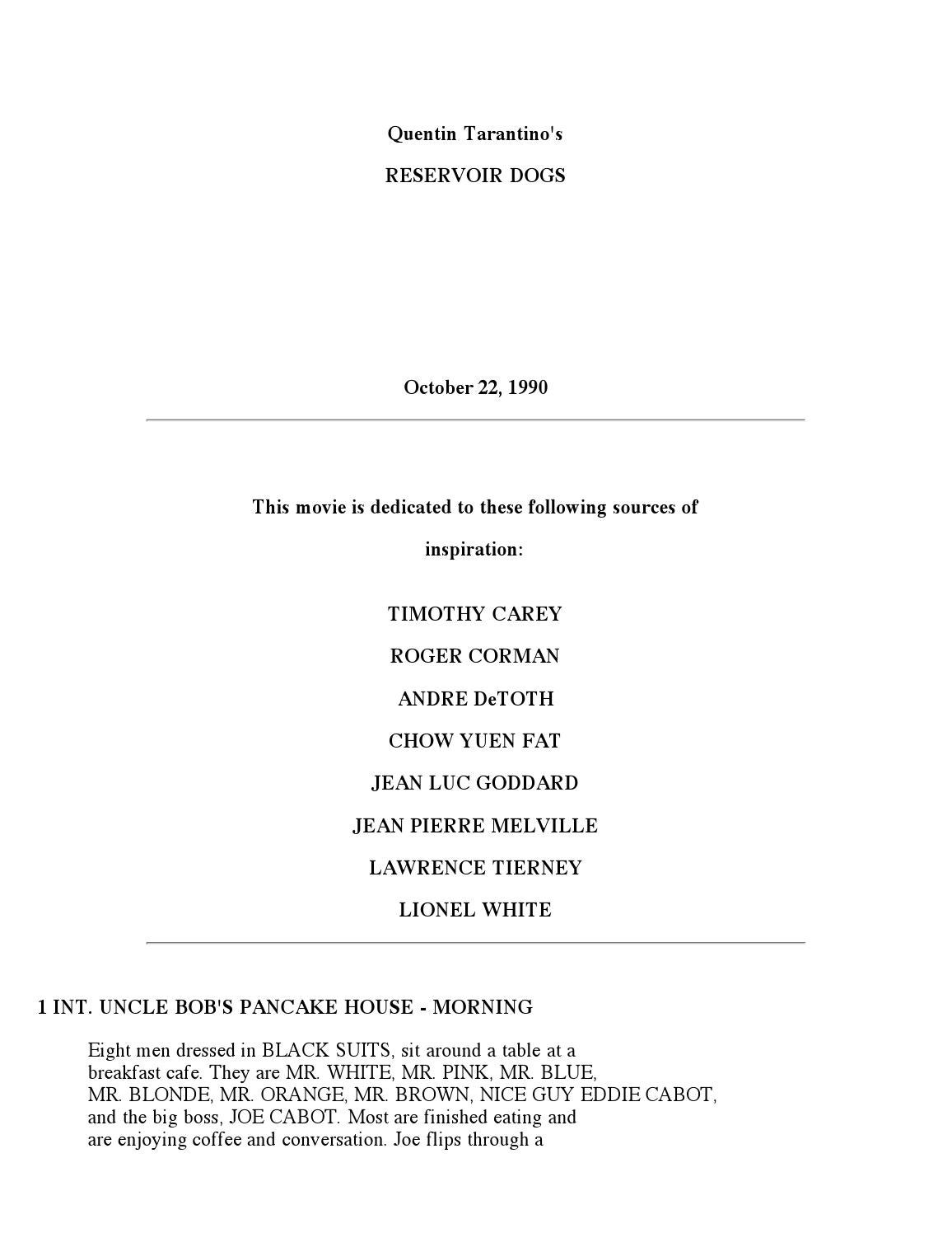 Reservoir Dogs Screenplay Pdf